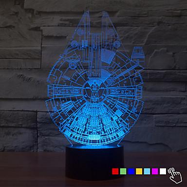 1kpl 7color muuttaa 3d yövalo LED Lamp Millennium Falconin led-valaistus sisustus pöytävalaisin yövalo Kid