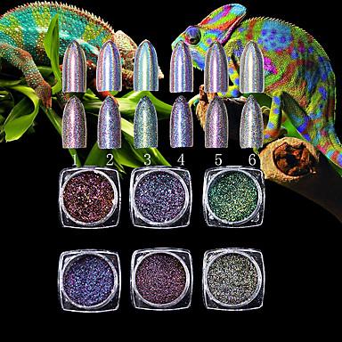 1 adet nail art enkaz süper bukalemun, yüksek dereceli 7 renkli lazer tozu