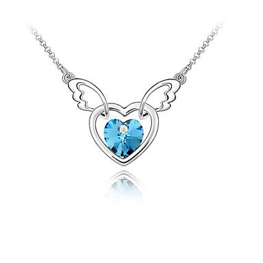 femme cristal pendentif de collier c ur amour ailes d 39 anges personnalis mode. Black Bedroom Furniture Sets. Home Design Ideas