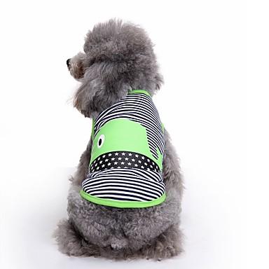 Koty Psy Yelek Ubrania dla psów Lato Çizgi Urocze Modny Codzienne Green Niebieski