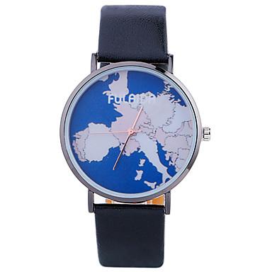 Modny Zegarek na nadgarstek Kwarcowy Skóra Pasmo Z Wisorkami Nowoczesne Na co dzień Mapa Świata Wzorzec KreatywneCzarny Biały Srebro