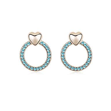 Damskie Kolczyki na sztyft Kryształ Spersonalizowane Okragły Miłość Serce euroamerykańskiej Biżuteria Ślub Impreza Urodziny