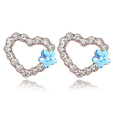 Kadın's Vidali Küpeler Kristal Kişiselleştirilmiş Aşk Kalp Euramerican Mücevher Düğün Parti Doğumgünü