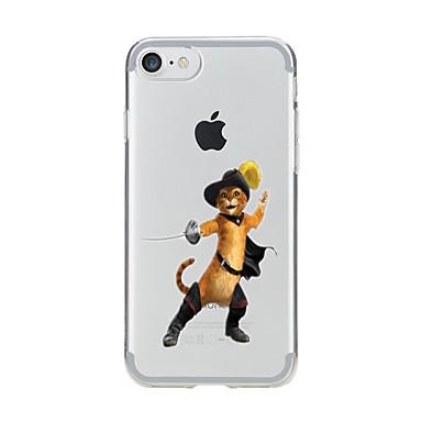 Pentru Transparent Model Maska Carcasă Spate Maska Pisica Moale TPU pentru AppleiPhone 7 Plus iPhone 7 iPhone 6s Plus iPhone 6 Plus