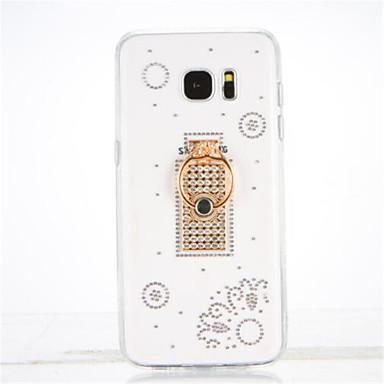 Varten Paljetti Sormuksen pidike Läpinäkyvä DIY Etui Takakuori Etui Kukka Pehmeä TPU varten Samsung S7 edge