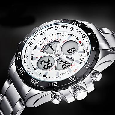 WEIDE Homens Relógio de Pulso Quartzo Quartzo Japonês LCD Calendário Cronógrafo Impermeável Dois Fusos Horários alarme Relógio Esportivo