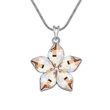 Kadın's Uçlu Kolyeler Kristal Flower Shape minimalist tarzı Mücevher Uyumluluk Günlük