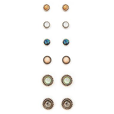 أقراط الزر موضة عتيقة euramerican في سبيكة Round Shape ذهبي مجوهرات إلى يوميا 1SET