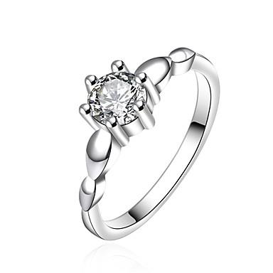 للمرأة خاتم مكعب زركونيا فضي زركون نحاس تصفيح بطلاء الفضة Geometric Shape مخصص هندسي تصميم فريد قديم حجر الراين أساسي دائرة euramerican