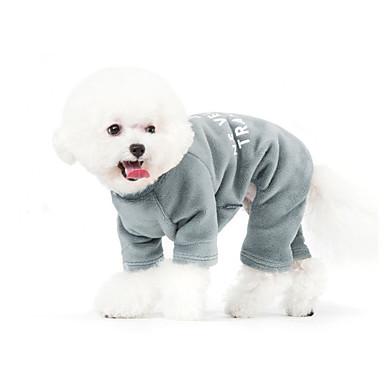 Pies Kombinezon Piżama Ubrania dla psów Litera i numer Gray Niebieski Bawełna Kostium Dla zwierząt domowych Męskie Codzienne