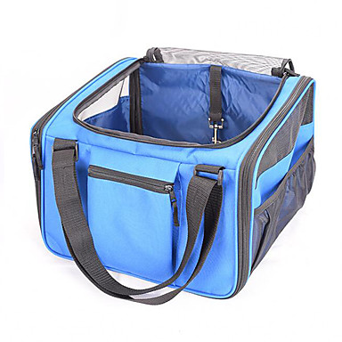 Katze Hund Transportbehälter &Rucksäcke Haustiere Träger Tragbar Atmungsaktiv Solide Blau