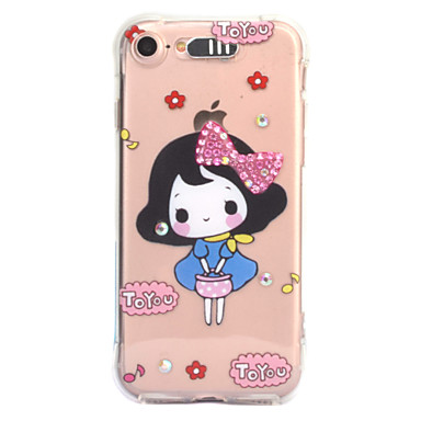 Voor apple iphone 7 7 plus 6s 6 plus case cover sexy schoonheid patroon diamant druppel komt met call flash tpu materiaal telefoon hoesje