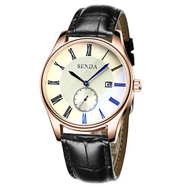 Heren Modieus horloge Kwarts Leer Band Zwart