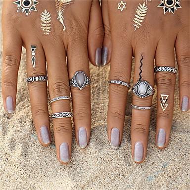 Heren Dames Ring Turkoois Synthetische Opaal Uniek ontwerp Vintage Bohémien Cirkel Modieus Punk Euramerican sinkkiseos Opaal Turkoois