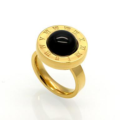 Miesten Naisten Band Ring Musta Akaatti Titaaniteräs Circle Shape Alphabet Shape Yksilöllinen Geometrinen Uniikki Vintage Circle
