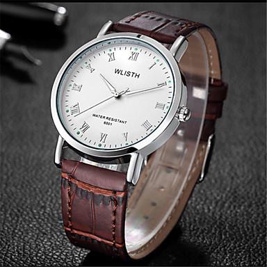 Heren Modieus horloge Kwarts Leer Band Vrijetijdsschoenen Zwart Bruin