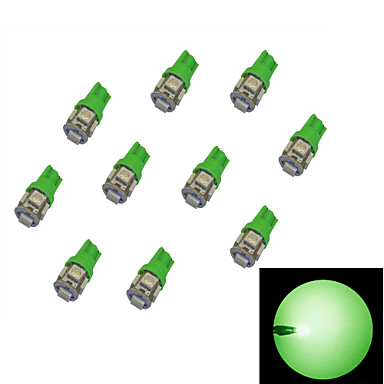 10kpl T10 5 * 5050 SMD LED auton lamppu vihreä valo DC12V