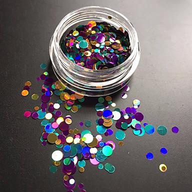 1bottle μόδας μικτή πολύχρωμη λέιζερ glitter paillette στρογγυλά φέτα νύχια διακόσμηση τέχνης p10