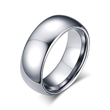 Heren Ring Zilver Wolfraamstaal Rond Cirkelvorm Geometrische vorm Gepersonaliseerde Standaard Euramerican Modieus Eenvoudige Stijl Feest