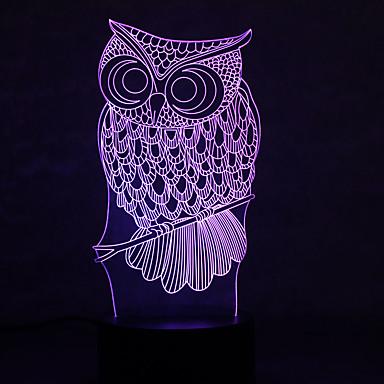 pöllö kilpikonnat himmennys 3d led yövalo 7colorful sisustus tunnelmaa lamppu uutuus valaistus kevyt