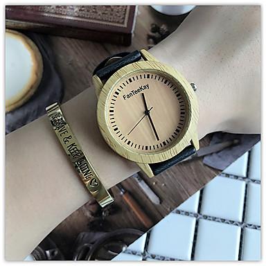 Kadın's Saat Ahşap Benzersiz Yaratıcı İzle Bilek Saati Gündelik Saatler Çince Quartz / ahşap Deri Bant Günlük Havalı Siyah Kahverengi Haki