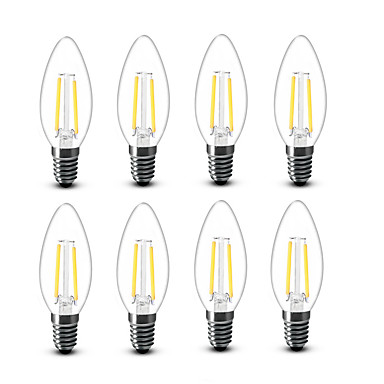 2W E14 LED-gloeilampen C35 2 COB 200 lm Warm wit Decoratief AC220 AC230 AC240 V 8 stuks