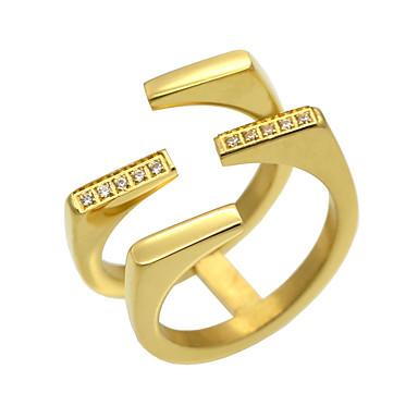 Miesten Naisten Band Ring Cubic Zirkonia Kulta Hopea Cubic Zirkonia Titaaniteräs 18K kultaa Pyöreä Geometric Shape epäsäännöllinen
