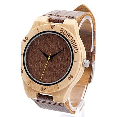 Bărbați Ceas Casual Ceas Lemn Ceas La Modă Ceas de Mână Unic Creative ceas Japoneză Quartz Quartz Japonez de lemn Piele Autentică Bandă