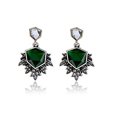 Halka Küpeler Kristal Kişiselleştirilmiş Euramerican Geometric Shape Koyu Yeşil Mücevher Için 1 çift