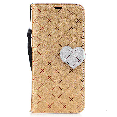 غطاء من أجل Samsung Galaxy S8 Plus S8 محفظة حامل البطاقات مع حامل قلب مغناطيس كامل الجسم لون الصلبة قلب نموذج هندسي قاسي جلد اصطناعي إلى