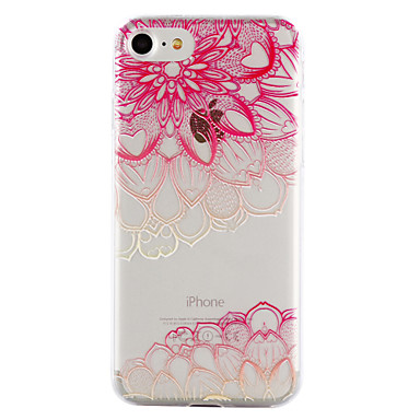 voordelige iPhone 5 hoesjes-hoesje Voor Apple iPhone 8 Plus / iPhone 8 / iPhone 7 Plus Transparant / Reliëfopdruk / Patroon Achterkant Cartoon / Lace Printing / Bloem Zacht TPU