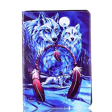 Für Apfel ipad Pro 9.7 '' ipad 5 ipad 6 Fallabdeckung Wolfmusterkarte Stent PU-materieller flacher Schutzoberteil
