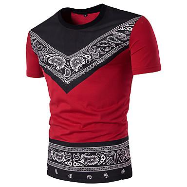 economico Abbigliamento uomo-T-shirt Per uomo Sport Moda città Motivo cashemire / Tribale Rotonda - Cotone Nero e rosso Bianco L / Manica corta / Taglia piccola
