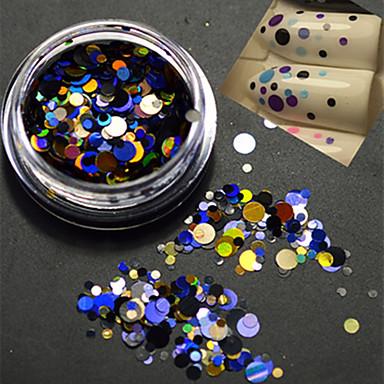 1bottle μόδα πολύχρωμο μεικτό μέγεθος καρφί τέχνης ομορφιά λέιζερ glitter γύρο paillette φέτα διακόσμηση p7