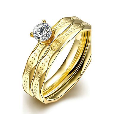 Damen Bandringe Ring Verlobungsring Modisch Simple Style Brautkleidung Titanstahl Kreisförmig Schmuck Weihnachts Geschenke Hochzeit Party