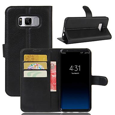 غطاء من أجل Samsung Galaxy S8 Plus S8 حامل البطاقات محفظة ضد الصدمات مع حامل غطاء كامل للجسم لون الصلبة قاسي جلد PU إلى S8 Plus S8 S7