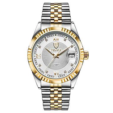 Tevise Męskie Dla par zegarek mechaniczny Modny Kwarcowy Kalendarz Wodoszczelny Świecący Stal nierdzewna Pasmo Vintage Na co dzień