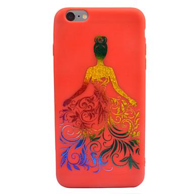 Kılıf Na iPhone 7 Plus iPhone 6s Plus iPhone 6 Plus Apple Wytłaczany wzór Wzór Czarne etui Seksowna dziewczyna Przejście kolorów Kwiaty