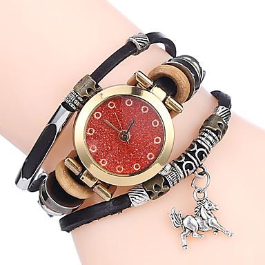 Damen Armband-Uhr Chinesisch Quartz Leder Band Freizeit Cool Schwarz Weiß Blau Braun