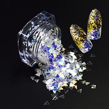 1 μπουκάλι μόδα όμορφο σχέδιο τρίγωνο μαγικό εκθαμβωτικό φέτα καρφί τέχνης λάμψη pilelette λάμψη λεπτό φέτα διακόσμηση sz02