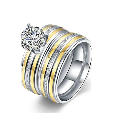 Pentru femei Oțel titan Inel de logodna Inel Band Ring - Rotund de Mireasă Modă stil minimalist Argintiu Inel Pentru Cadouri de Crăciun