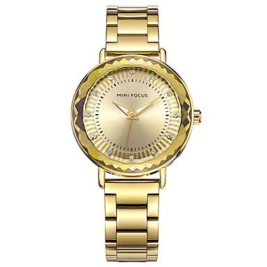 Dames Dress horloge Modieus horloge Chinees Kwarts Roestvrij staal Band Bedeltjes Vrijetijdsschoenen Zilver Goud Goud Rose