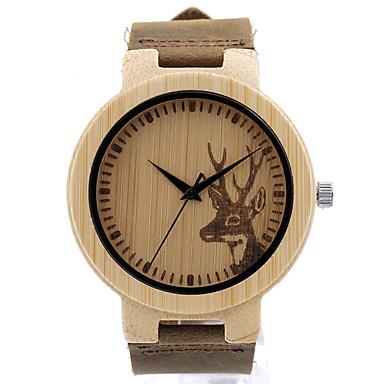 Bărbați Ceas La Modă Ceas de Mână Unic Creative ceas Ceas Casual Ceas Lemn Japoneză Quartz Quartz Japonez de lemn Piele Autentică Bandă