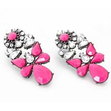 Kadın's Vidali Küpeler Çoklu Taşlar Moda Euramerican Çiçekli Zirkon Değerli Taş Mücevher Uyumluluk Düğün Parti Özel Anlar