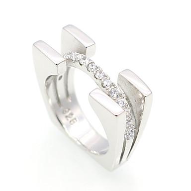 Ανδρικά Γυναικεία Band Ring Cubic Zirconia Ασημί Ασήμι Στερλίνας Cubic Zirconia Κυκλικό Geometric Shape Εξατομικευόμενο Πολυτέλεια