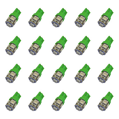20 قطع t10 5 * 5050 سمد ليد سيارة ضوء لمبة الضوء الأخضر dc12v