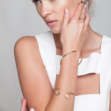 Kadın's Zincir & Halka Bileklikler Yüzük Bileklikler Mücevher Moda Bakır Altın Gümüş Mücevher Için Parti Özel Anlar 1pc