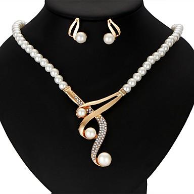 Mulheres Imitação de Pérola Formato Coroa Conjunto de jóias 1 Colar / 1 Par de Brincos - Fitas Formato Coroa Dourado Conjunto de Jóias