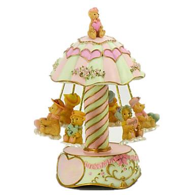 Music Box Okrągły Karuzela Merry Go Round Słodki Dla obu płci