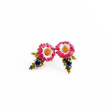 Cercei Rotunzi Cristal Personalizat Euramerican Flower Shape Roz Bombon Bijuterii Pentru 1 pereche
